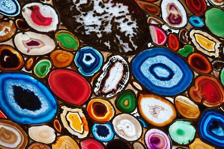 Slices of the colorful polished agate stones