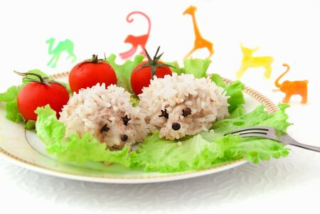 Photo pour Food for children, two funny rice hedgehogs, tomatoes, salad and toys on the white background - image libre de droit