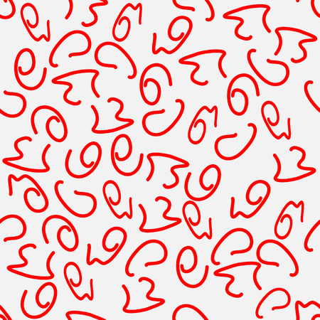 Seamless pattern, red squiggles, abstract background