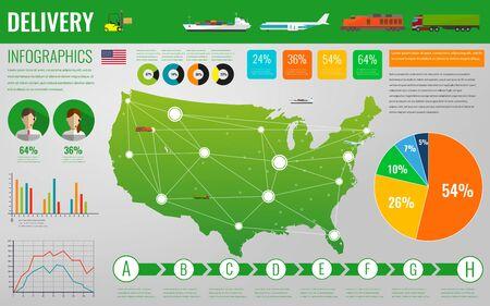 Ilustración de USA transportation and logistics. Delivery and shipping infographic elements. Illustration - Imagen libre de derechos