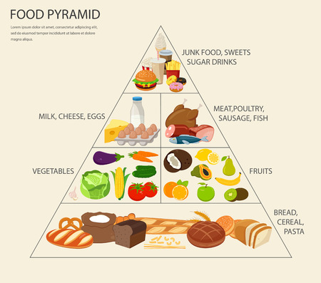 Vektor für Food pyramid healthy eating infographic. Healthy lifestyle. Icons of products. Vector illustration - Lizenzfreies Bild