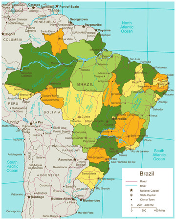 Brazil political map with selectable territories. Vector