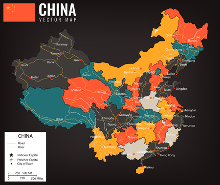 Illustration pour China map with provinces. All territories are selectable. Vector illustration. - image libre de droit