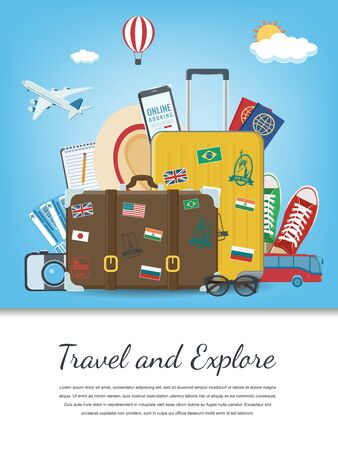 Illustration for Travel composition with travel equipment. Travel and Tourism concept. Vector - Royalty Free Image