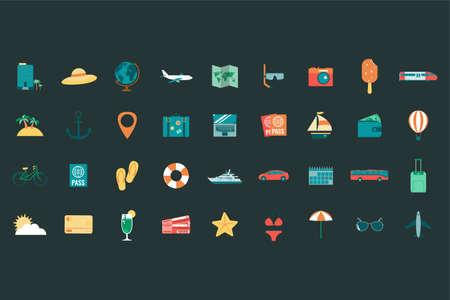 Illustration pour summer holiday icons collection. travel and tourism concept. vector - image libre de droit