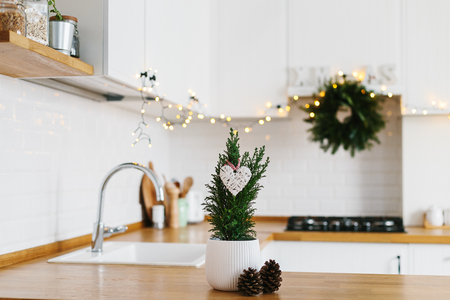 Foto de Small Christmas tree in white flower pot white modern kitchen scandinavian style decorated for Christmas background. Cypress, Chamaecyparis lawsoniana Ellwoodii - Imagen libre de derechos