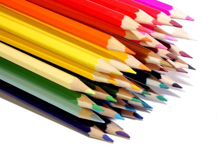 pencils varicoloured isolated on the white colour