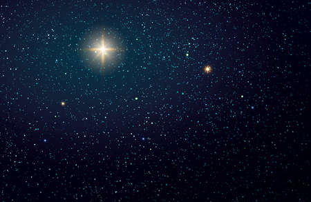 Photo for Christmas Star on dark abstract sky. Christmas background. - Royalty Free Image