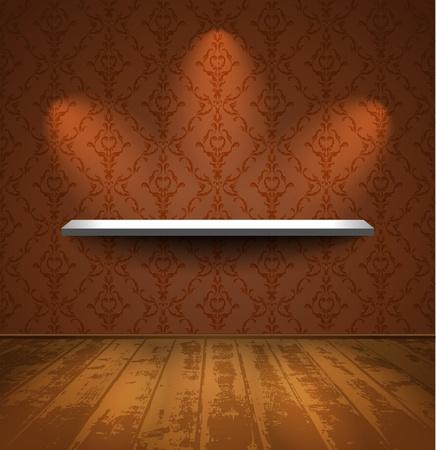 Lightened shelf in a room with wooden floor
