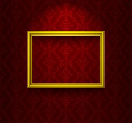 Foto de Wooden frame on the wall with wallpaper - Imagen libre de derechos