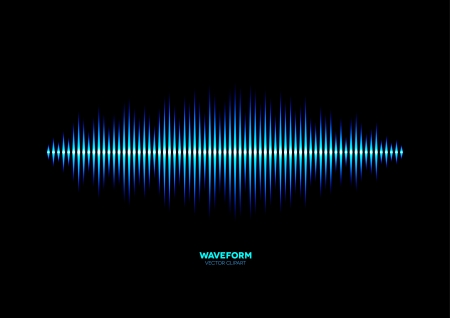 Shiny blue music waveform