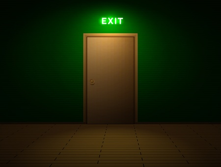 Dark room with exit sign