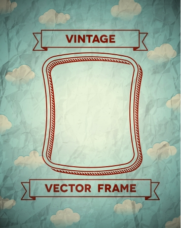 Illustration for Vintage smooth frame with clouds and ribbons - Royalty Free Image