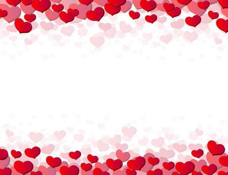 Valentines Day card with scattered hearts on top and bottom