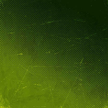 Old green scratched paper card with halftone gradient