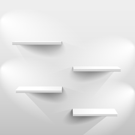 Illustration pour Shelves with light and shadow in empty white room - image libre de droit