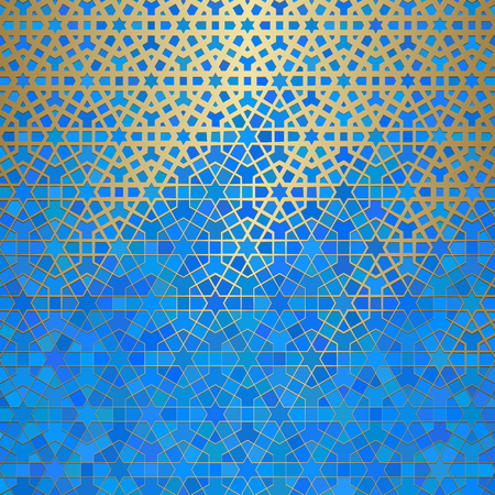 Illustration pour Abstract background with islamic ornament, arabic geometric texture. Golden lined tiled motif over colored background with stained glass style. - image libre de droit