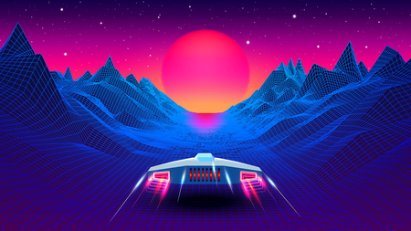 Illustration pour Arcade space ship flying to the sun in blue corridor or canyon landscape with 3D mountains, 80s style synthwave or retrowave illustration - image libre de droit