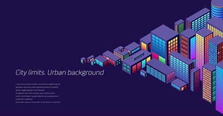 Ilustración de Background with city view with isometric perspective and vibrant neon colors - Imagen libre de derechos