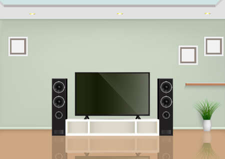 Illustration for Living room with smart TV on the table and speaker audio. Vector illustration. - Royalty Free Image