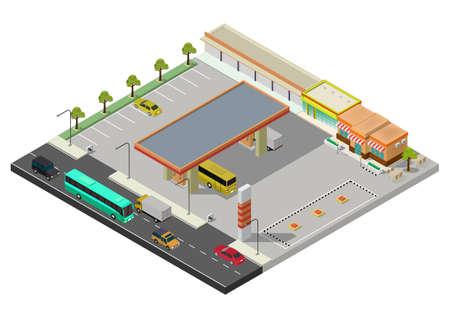 Illustration for Isometric gas station, petrol station fuel tank, fuel pump, car, shop, oil station, gasoline. Vector illustration. - Royalty Free Image