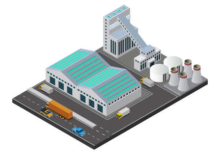 Illustration for Vector illustration isometric Industrial buildings composition with view of the facilities like chimney - Royalty Free Image