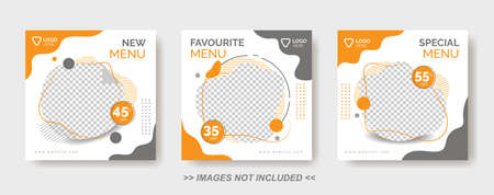 Illustration for Food Menu Banner Template,  Social Media Post Template with gray and orange color - Royalty Free Image