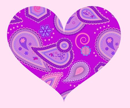 Stylized heart with abstract ornament of paisleys in lilac and violet colors
