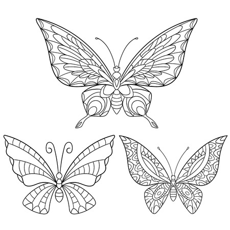 Illustration pour stylized cartoon collection of butterflies isolated on white background. Sketch for adult antistress coloring page.  doodle, floral design elements for coloring book. - image libre de droit