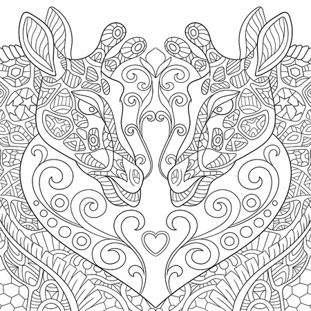 Exquisite Giraffe Heart Illustration