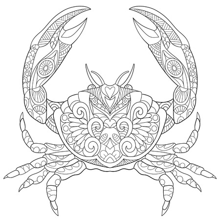 Illustration pour stylized cartoon crab, isolated on white background. Sketch for adult antistress coloring page.  doodle,  floral design elements for coloring book. - image libre de droit
