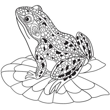Illustration pour stylized cartoon frog, - image libre de droit
