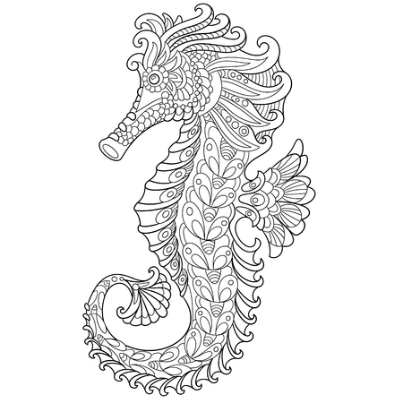 Ilustración de cartoon seahorse, isolated on white background. Hand drawn sketch for adult antistress coloring page, T-shirt emblem, or tattoo with doodle, floral design elements. - Imagen libre de derechos