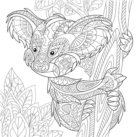 Illustration pour stylized cartoon koala bear sitting among tree leaves. Hand drawn sketch for adult antistress coloring page, T-shirt emblem or tattoo with doodle, floral design elements. - image libre de droit