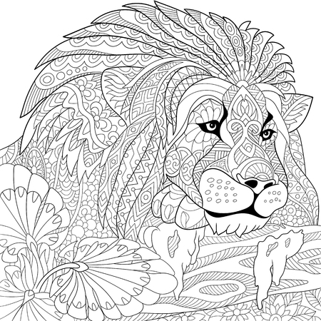 Illustration pour stylized cartoon lion (wild cat, leo zodiac) - image libre de droit