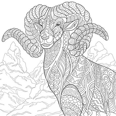 Illustration pour stylized cartoon goat (ram, ibex, aries or capricorn zodiac) - image libre de droit