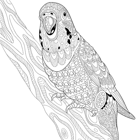 Stylized cartoon budgie parrot sitting on tree branch