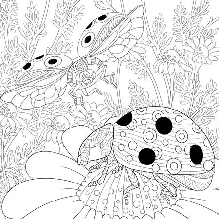 Illustration pour stylized cartoon flying ladybugs and daisy flowers - image libre de droit