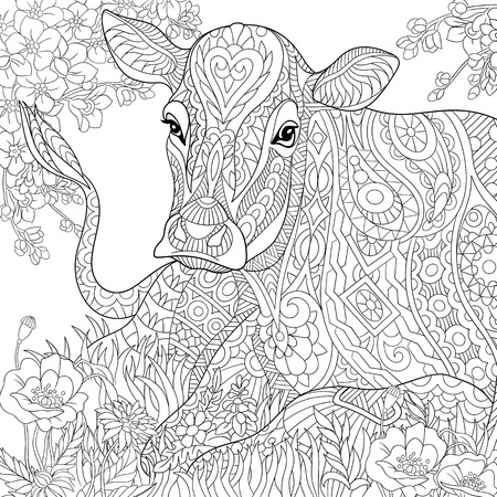 Ilustración de stylized cartoon pasturing cow, flower blossom, grass field.  sketch for adult antistress coloring book page, T-shirt emblem, tattoo with doodle,  floral design elements. - Imagen libre de derechos