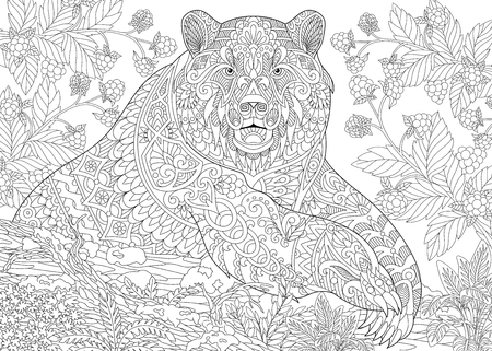 Illustration pour stylized cartoon bear (grizzly bear) among blackberries or raspberries in woodland.  sketch for adult antistress coloring book page with doodle,  floral design elements. - image libre de droit