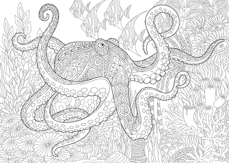 Illustration pour Stylized composition of octopus (poulpe), tropical fish, underwater seaweed and corals. Freehand sketch for adult anti stress coloring book page with doodle and zentangle elements. - image libre de droit