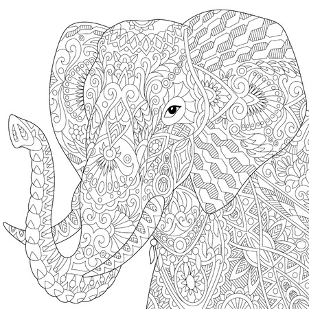 Illustration pour Stylized elephant, isolated on white background. Freehand sketch for adult anti stress coloring book page with doodle and zentangle elements. - image libre de droit