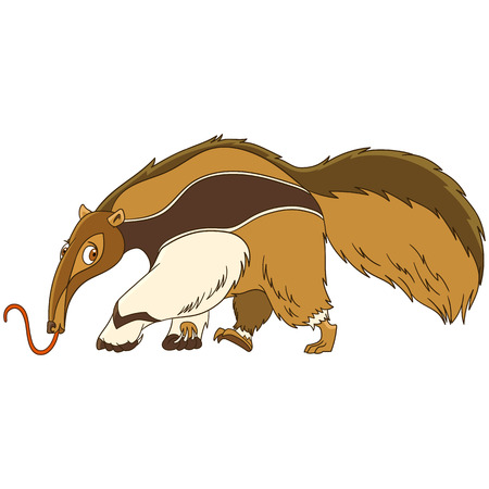 Illustration pour Cute and funny cartoon anteater animal, isolated on white background. Childish vector illustration and colorful book page for kids. - image libre de droit