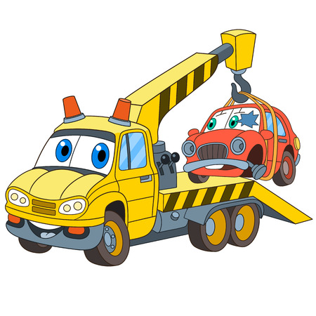 Ilustración de Cartoon vehicle transport. Tow truck (evacuator) with a broken car, isolated on white background. Childish vector illustration and colorful book page for kids. - Imagen libre de derechos