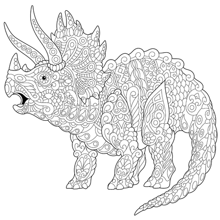 Illustration pour Stylized triceratops dinosaur living at the end of the Cretaceous period, isolated on white background. - image libre de droit