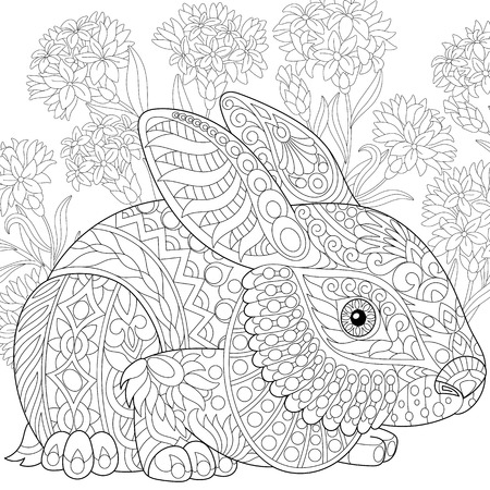 Ilustración de Stylized rabbit (bunny, hare) and cornflowers. Freehand sketch for adult anti stress coloring book page with doodle elements. - Imagen libre de derechos