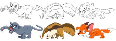 Illustration pour Cartoon animal set. Collection of wild predators. Panther (puma, cougar), anteater, fox. Coloring book pages for kids. - image libre de droit