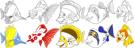Cartoon ocean animals set. Longnose butterfly fish, koi carp, angelfish, filefish, goldfish. Coloring book pages for kids.