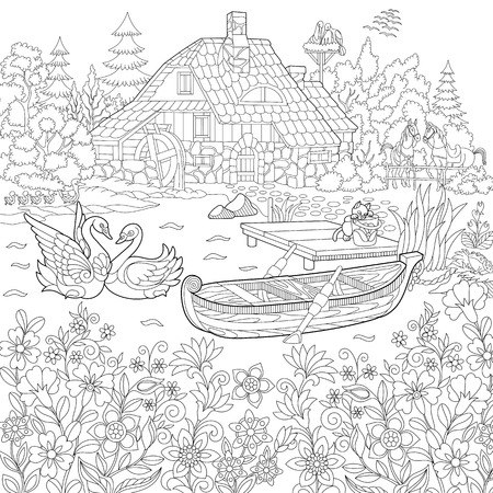 Illustration pour Coloring book page of rural landscape, flower meadow, lake, farm house, ducks, kitten, swans, horses, frog, storks. Freehand drawing for adult antistress colouring with doodle and zentangle elements. - image libre de droit