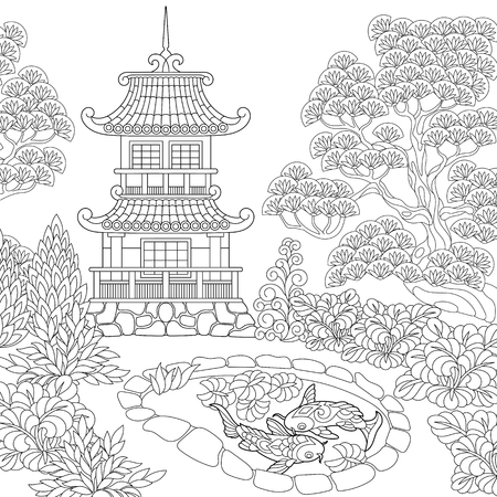 Illustration pour Coloring page of oriental temple. Japanese or chinese pagoda tower. Freehand sketch drawing for adult antistress coloring book. - image libre de droit